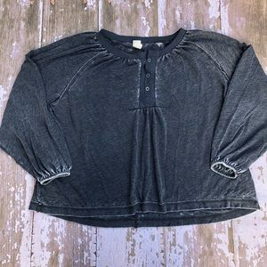 We The Free Oversized Gray Blouse Henley Shirt M